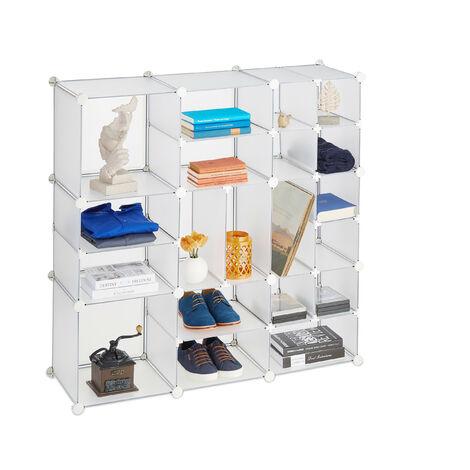 Étagère Rangement 20 Casiers Modulable DIY Assemblage Bibliothèque Plastique, 111 x 111 x 37 cm, transparent