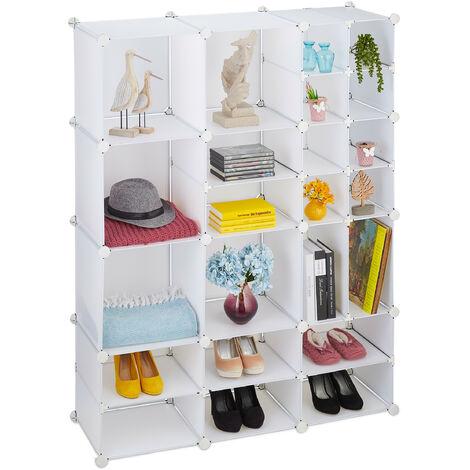 Étagère Rangement 23 Casiers Modulable DIY Assemblage Plug In Bibliothèque Plastique, 147 x 111 x 37 cm, blanc