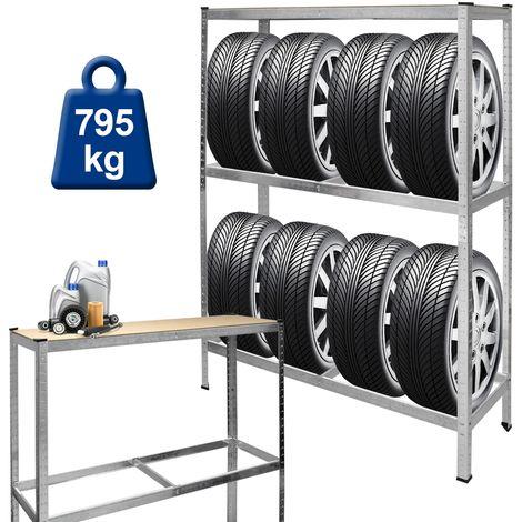 Étagère rangement 795 kg porte pneu stockage pour garage atelier 180x120x40 cm