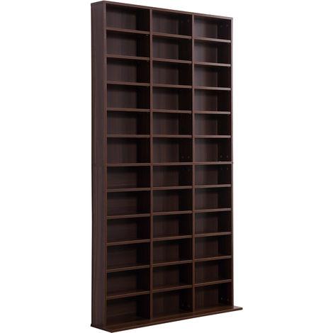 """main image of """"Étagère rangement CD/DVD meuble de rangement pour 1116 CDs 33 compartiments réglables en hauteur 102 x 24 x 195 cm noir"""""""