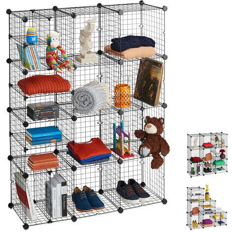 Étagère Rangement, Cubes, Casiers, Modulable, DIY, 19 Compartiments, Bibliothèque, HxLxP 146,5x111x37 cm, Noir