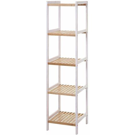 Étagère rangement en bois salle de bain 5 niveaux en bambou 142x34x33 cm - SDB04052