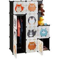 Étagère rangement enfants casier modulable plastique animaux penderie armoire portes tringle, coloré