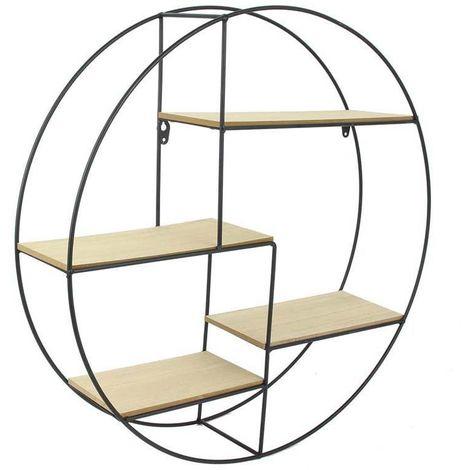 Étagère ronde bois et métal - D 50 cm - Livraison gratuite