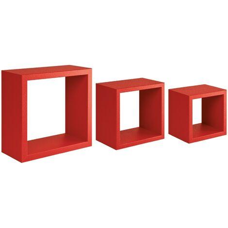 etagere Rubic Decoration Murale - Salon, Chambre, Bureau - MDF, Rouge 35 x 35 x 15,5/ 25 x 25 x 15,5/ 20 x 20 x 15,5