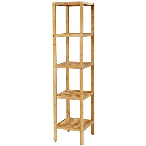 tag re salle de bain bambou 5 niveaux 146 x 33 x 33cm. Black Bedroom Furniture Sets. Home Design Ideas