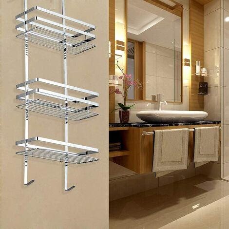 Étagère salle de bains étagère de douche à suspendre avec 3 tablettes type de suspension installation facile couleur acier inoxydable - couleur acier inoxydable