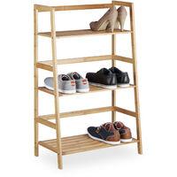 Etagère sur pied en bambou 3 étages bibliothèque livres déco 3 niveaux HxlxP: 91 x 57 x 32 cm salle de bain salon, nature