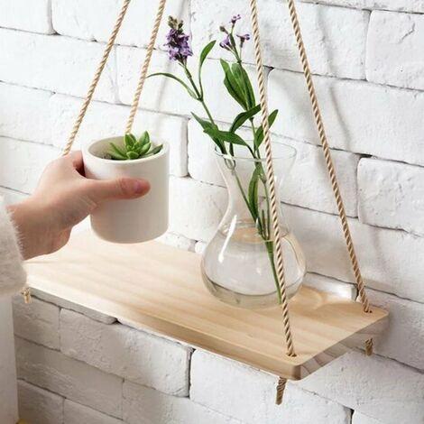 étagère Suspendue en Bois avec Corde Tablette Murale Pot de Fleurs en Bois pour Décor de Cuisine Chambre Salon BureauS 35x14x2 cm