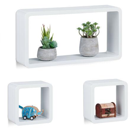 Étagère suspendue lot de 3 support mural flottant meuble rangement bois MDF tablette, blanc
