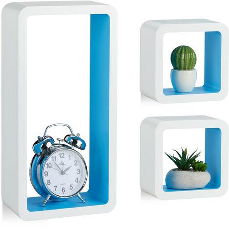 Étagère suspendue lot de 3 support mural flottant meuble rangement bois MDF tablette, blanc-bleu