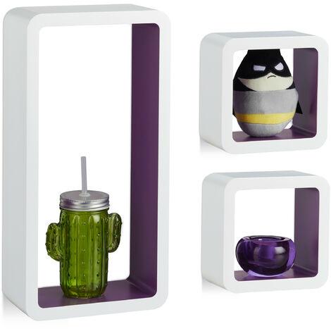 Étagère suspendue lot de 3 support mural flottant meuble rangement bois MDF tablette, blanc violet