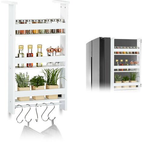 Étagère suspendue pour frigo, Rangement d'épices, avec barre & 5 crochets, MDF, HLP: 74x42x20 cm, blanc