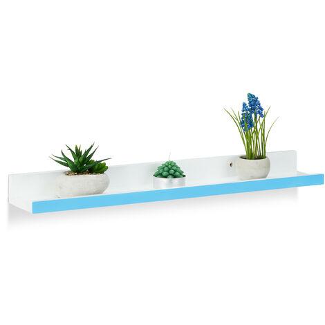 Étagère tablette flottante murale plateau étroit MDF cuisine bois HxlxP: 5 x 60 x 10 cm, blanc-bleu