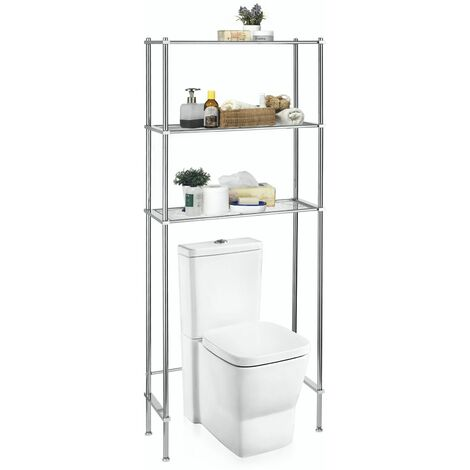 Étagère toilettes WC RAFA économiseur d'espace avec 3 tablettes, en métal chromé