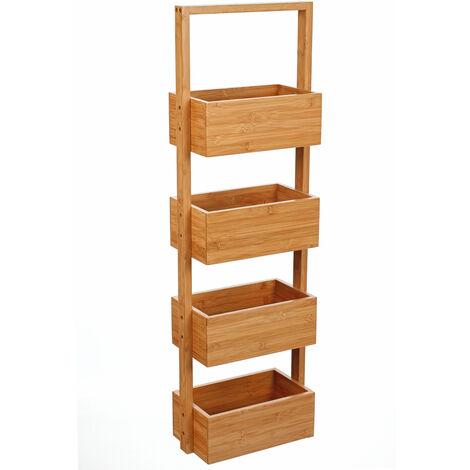 Etagères 4 casiers en bambou - H88 x P16 x L25 cm