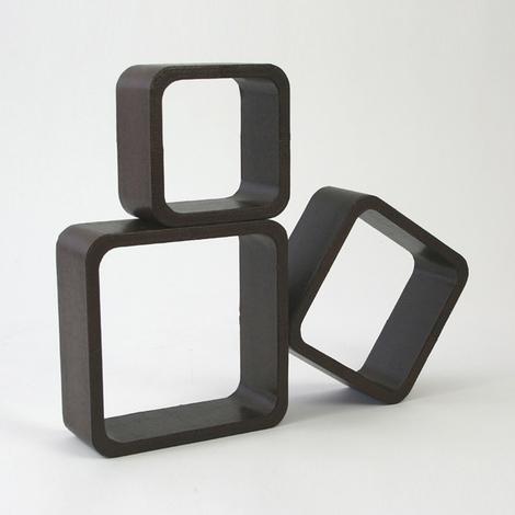 Étagères cube murale de 3 piéces en Similicuir brun
