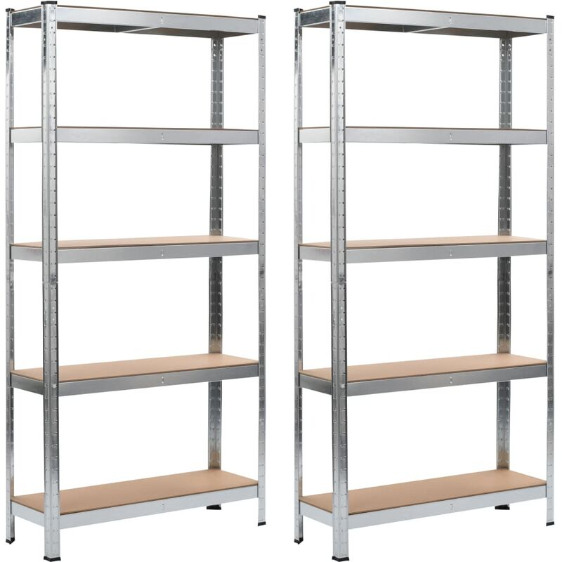 étagères de rangement 2 pcs Argenté 90x30x180 cm Acier et MDF