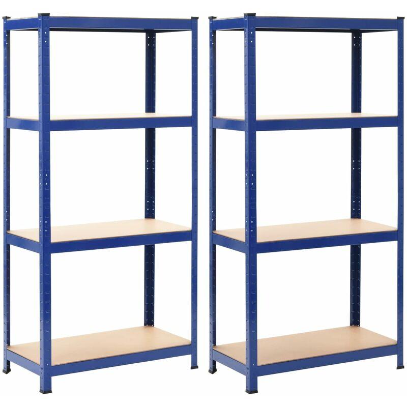 Étagères de rangement 2 pcs Bleu 80x40x160 cm Acier et MDF