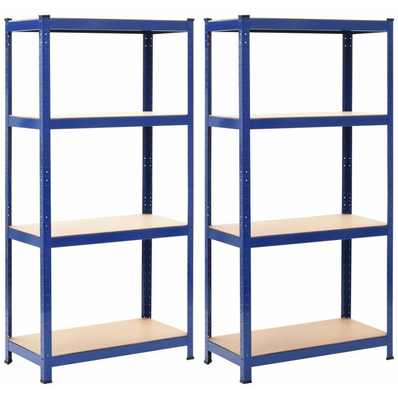 etageres De Rangement 2 Pcs Bleu 80X40X160 Cm Acier Et Mdf