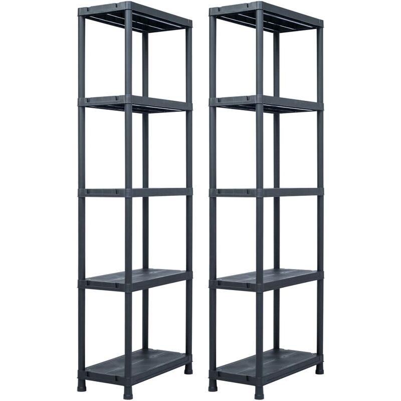 étagères de rangement 2 pcs Noir 125 kg 60x30x180 cm Plastique