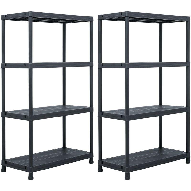 étagères de rangement 2 pcs Noir 200 kg 80x40x138 cm Plastique