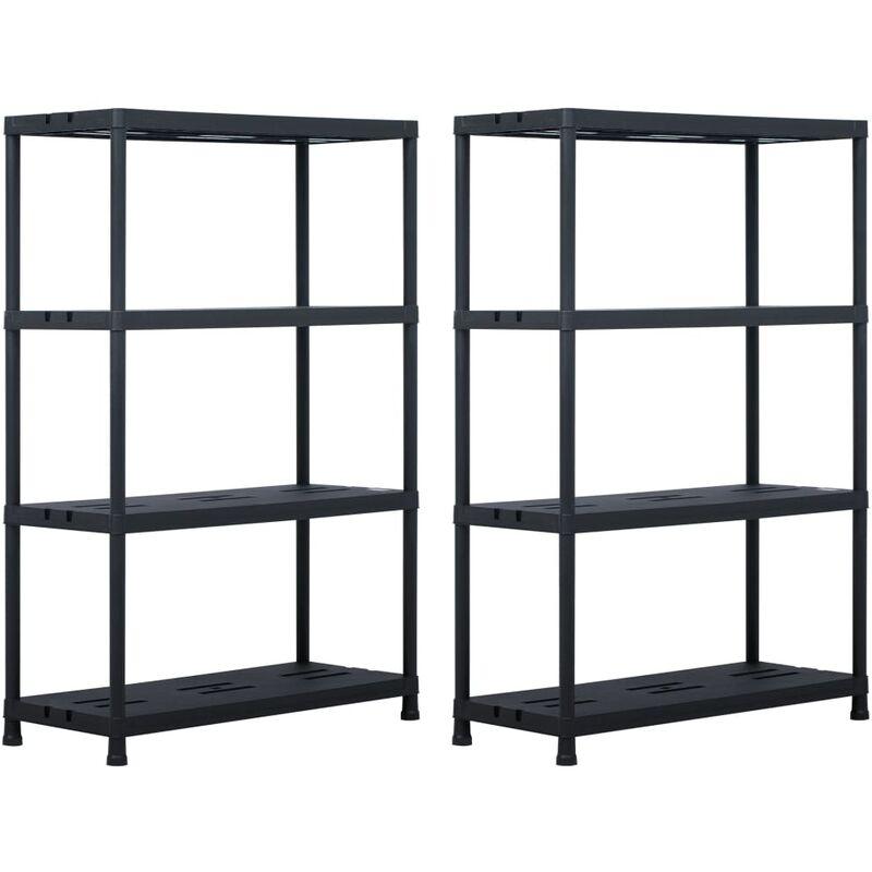 étagères de rangement 2 pcs Noir 220 kg 90x40x138 cm Plastique