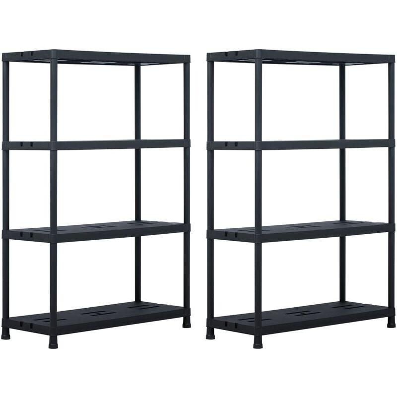 etageres de rangement 2 pcs Noir 220 kg 90x40x138 cm Plastique
