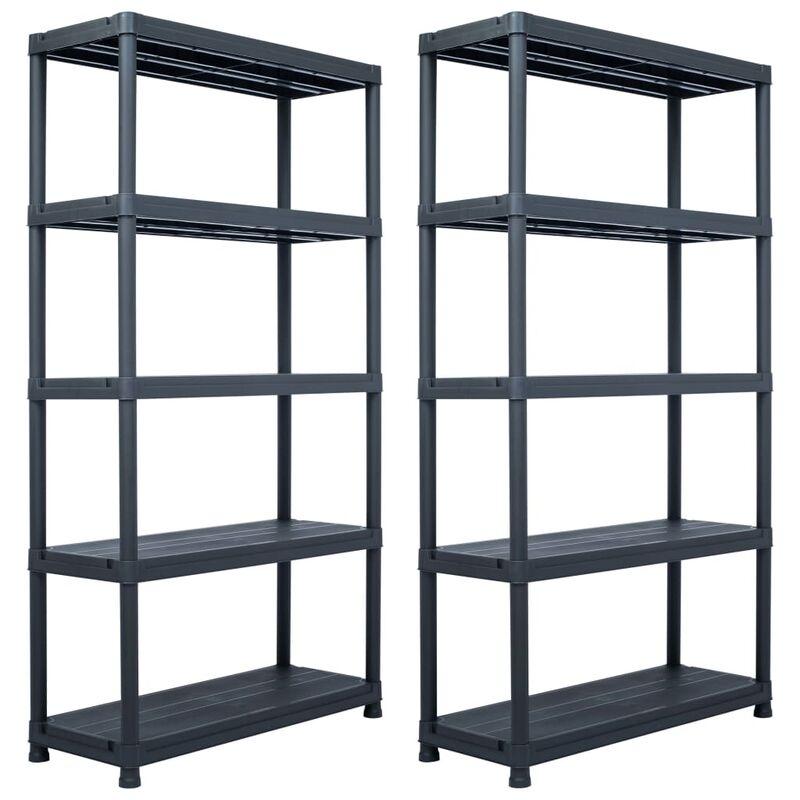 étagères de rangement 2 pcs Noir 250 kg 80x40x180 cm Plastique