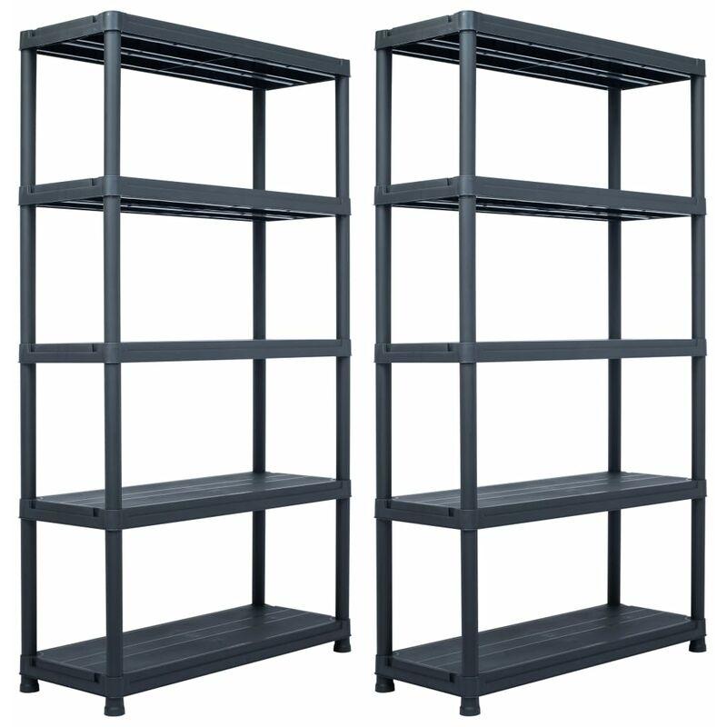 etageres de rangement 2 pcs Noir 500 kg 100x40x180 cm Plastique