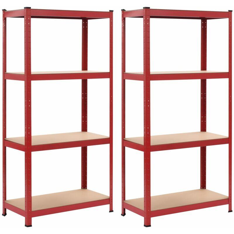Étagères de rangement 2 pcs Rouge 80x40x160 cm Acier et MDF