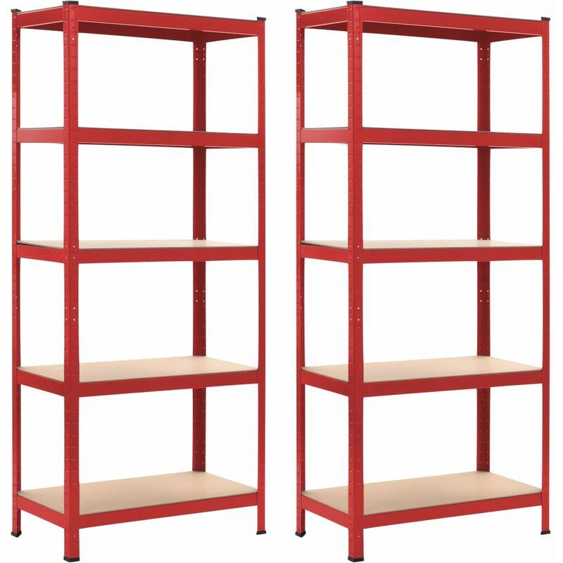 étagères de rangement 2 pcs Rouge 80x40x180 cm Acier et MDF