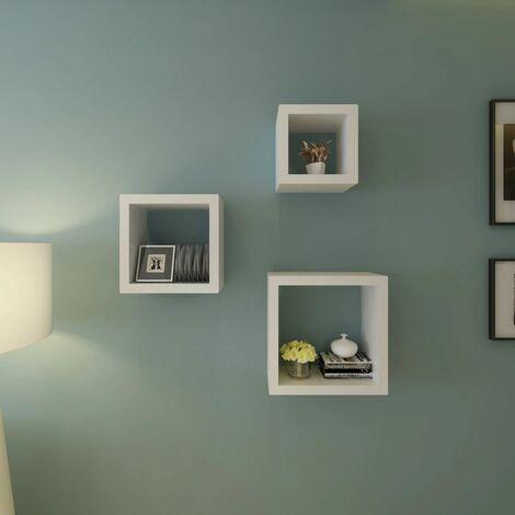 Etageres Design Murale 3 Cubes blanc