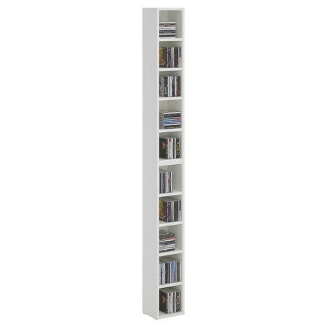 Etagères modulables MUSIQUE pour CD et DVD, lot de 2 meubles de rangement en colonne avec 10 compartiments, en mélaminé blanc mat