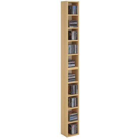 Etagères modulables MUSIQUE pour CD et DVD, lot de 2 meubles de rangement en colonne avec 10 compartiments en mélaminé couleur hêtre