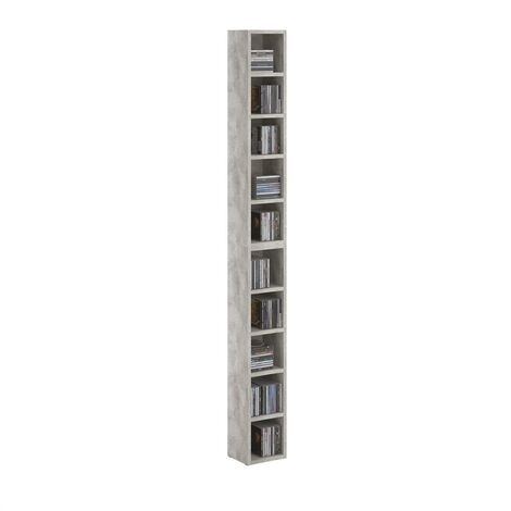 Etagères modulables MUSIQUE pour CD et DVD, lot de 2 meubles de rangement en colonne avec 10 compartiments, en mélaminé décor béton