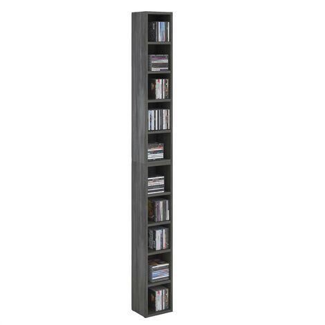 Etagères modulables MUSIQUE pour CD et DVD, lot de 2 meubles de rangement en colonne avec 10 compartiments, en mélaminé gris cendré