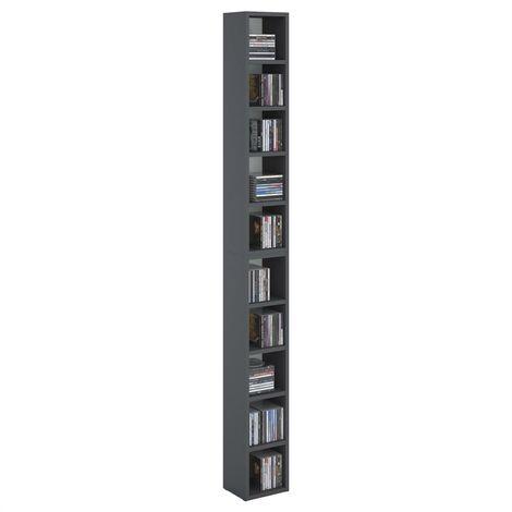 Etagères modulables MUSIQUE pour CD et DVD, lot de 2 meubles de rangement en colonne avec 10 compartiments, en mélaminé gris mat