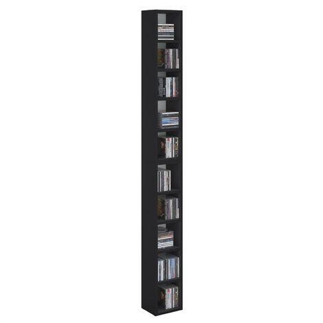 Etagères modulables MUSIQUE pour CD et DVD, lot de 2 meubles de rangement en colonne avec 10 compartiments, en mélaminé noir mat