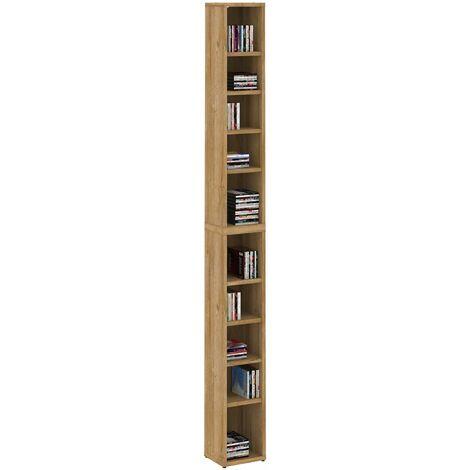 Etagères modulables MUSIQUE pour CD et DVD, lot de 2 meubles de rangement en colonne avec 10 compartiments, mélaminé chêne sauvage
