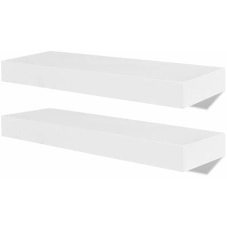 /étag/ère /à livres pour CD et livres Epaisseur de 1,8 cm Charge maximale Home-Neat Lot de 3 Etag/ères murales 15 kg blanc