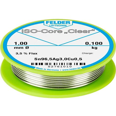 Étain à souder Felder Löttechnik ISO-Core Clear SAC305 52761010 Sn96,5Ag3Cu0,5 bobine 0.100 kg 1 mm 1 pc(s)