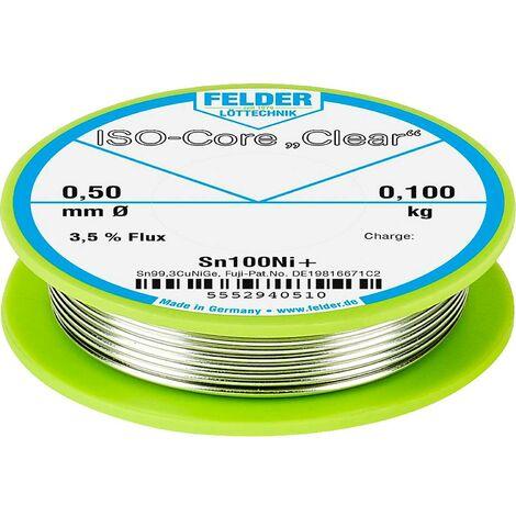 Étain à souder Felder Löttechnik ISO-Core Clear Sn100Ni+ 5552940510 Sn99,25Cu0,7Ni0,05 bobine 0.100 kg 0.5 mm 1 pc(s)