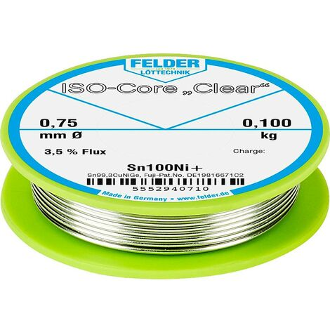 Étain à souder Felder Löttechnik ISO-Core Clear Sn100Ni+ 5552940710 Sn99,25Cu0,7Ni0,05 bobine 0.100 kg 0.75 mm 1 pc(s)