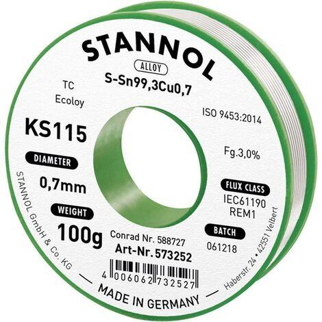 Étain à souder KS115 3,0% 0,7MM 100G Stannol 573252 S66454