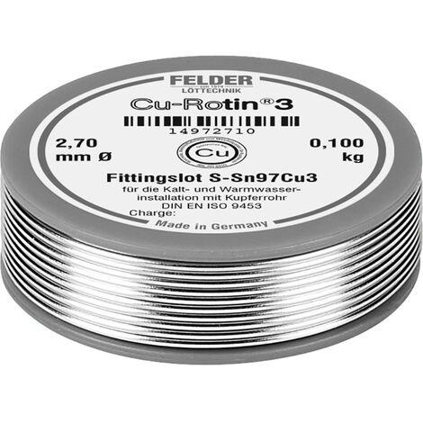 Étain à souder sans plomb Felder Löttechnik Cu-Rotin® 3 14972710 Sn97Cu3 bobine 0.100 kg 2.7 mm 1 pc(s)