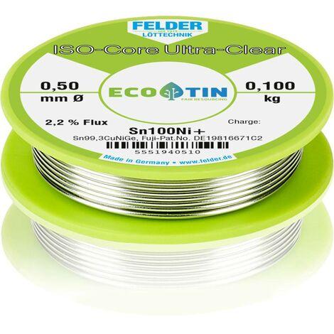 Étain à souder sans plomb Felder Löttechnik ISO-Core Ultra-Clear Sn100Ni+ 5551940510 Sn99,25Cu0,7Ni0,05 bobine 0.100 kg