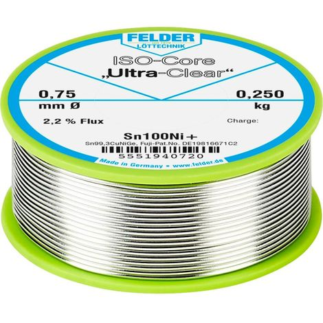 Étain à souder sans plomb Felder Löttechnik ISO-Core Ultra-Clear Sn100Ni+ 5551940720 Sn99,25Cu0,7Ni0,05 bobine 0.250 kg