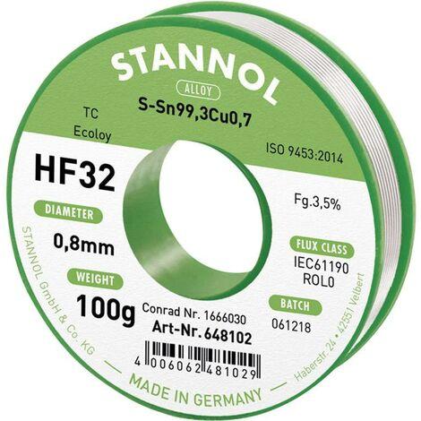 Étain à souder sans plomb Stannol HF32 3,5% 0,8MM SN99,3CU0,7 CD 100G 648104 Sn99,3Cu0,7 sans plomb, bobine 100 g 0.8 mm 1 pc(s) X887271