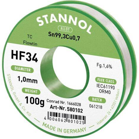 Étain à souder sans plomb Stannol HF34 1,6% 1,0MM FLOWTIN TC CD 100G 580102 Sn99,3Cu0,7 bobine, sans plomb 100 g 1 mm 1 pc(s) X887561